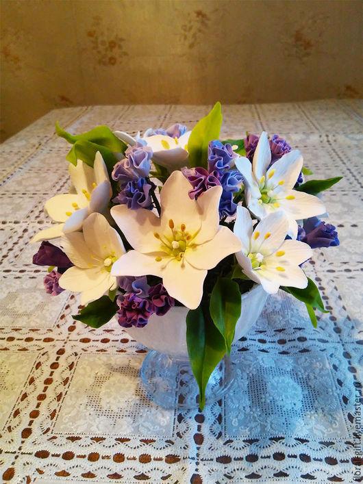 Интерьерные композиции ручной работы. Ярмарка Мастеров - ручная работа. Купить Белые лилии  в вазе. Handmade. Белый, букет в подарок
