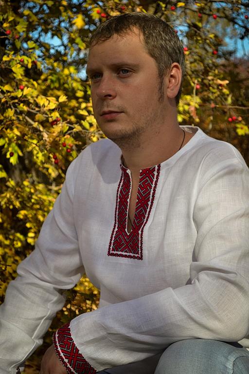 Одежда ручной работы. Ярмарка Мастеров - ручная работа. Купить Льняная сорочка Коловрат и Инглия (бело-красная с длинным рукавом). Handmade.