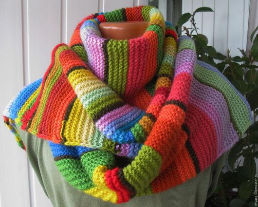Шарфы и шарфики ручной работы. Ярмарка Мастеров - ручная работа. Купить Антидепрессант - шарф радуга, шарф калейдоскоп, шарф цветочная поляна.. Handmade.
