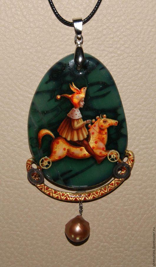 """Кулоны, подвески ручной работы. Ярмарка Мастеров - ручная работа. Купить кулон """"Лошадка"""". Handmade. Разноцветный, жемчуг натуральный"""