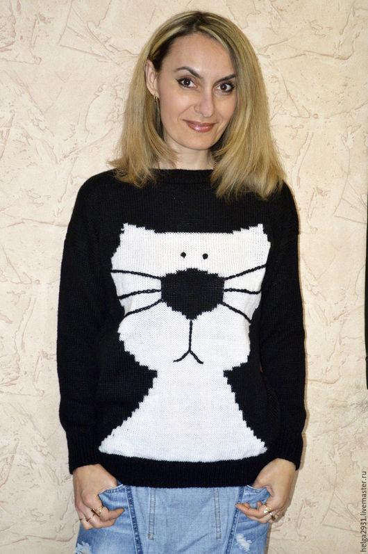 """Кофты и свитера ручной работы. Ярмарка Мастеров - ручная работа. Купить Джемпер"""" котэ"""". Handmade. Черный, мохер, полушерсть"""