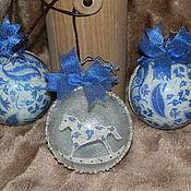 """Подарки к праздникам ручной работы. Ярмарка Мастеров - ручная работа """"Иней синий"""" набор елочных шаров. Handmade."""