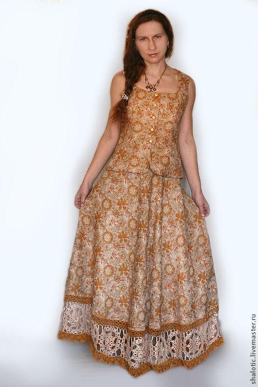 Льняной юбка с кружевом в пол, автор Юлия Льняная сказка