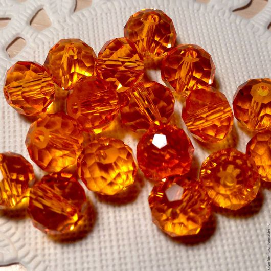 Для украшений ручной работы. Ярмарка Мастеров - ручная работа. Купить Бусина, граненая, оранжевый, рондель, 6х8 мм. Handmade.