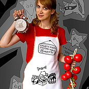 Для дома и интерьера handmade. Livemaster - original item Unusual apron for the kitchen cook, funny apron with a Fox pattern. Handmade.