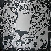 """Аксессуары ручной работы. Ярмарка Мастеров - ручная работа Шейный батик платок """"Снежный барс"""". Handmade."""