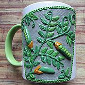 Посуда handmade. Livemaster - original item Mug Green polka dot decor polymer clay. Handmade.