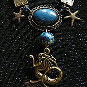 Украшения ручной работы. Ярмарка Мастеров - ручная работа Дочь Нептуна - колье с кабошонами тигрового глаза и содалита. Handmade.