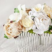 Свадебный салон ручной работы. Ярмарка Мастеров - ручная работа Гребень невесты Молочная  цветочная заколка Украшение для волос. Handmade.