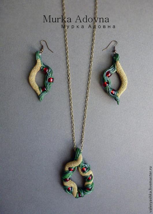 Комплекты украшений ручной работы. Ярмарка Мастеров - ручная работа. Купить Из эльфийских лесов. Handmade. Кулон, зеленый, красный