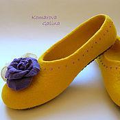 """Обувь ручной работы. Ярмарка Мастеров - ручная работа женские валяные тапочки """"Yellow sunrise"""". Handmade."""
