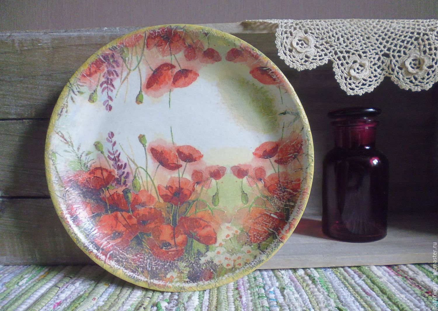 'Poppies' Plate decorative country style, Plates, St. Petersburg,  Фото №1