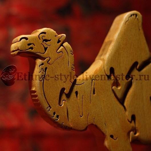 Развивающие игрушки ручной работы. Ярмарка Мастеров - ручная работа. Купить Верблюд (фигурка-пазл). Handmade. Желтый, детский пазл