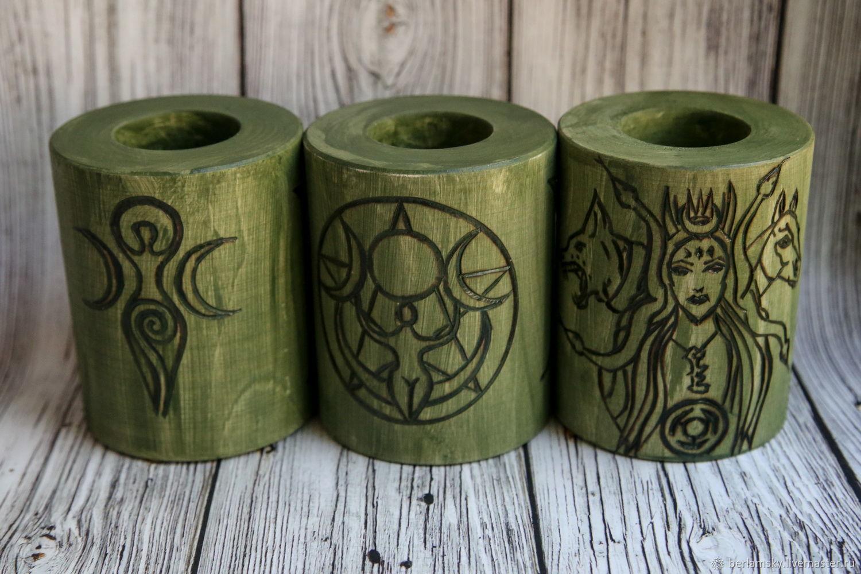Altar candlesticks green Wicca, Altar of Esoteric, Volokolamsk,  Фото №1