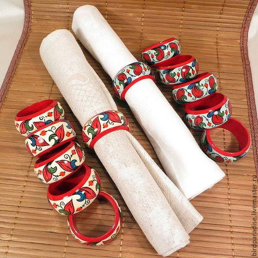 Декоративные деревянные расписные кольца для салфеток. Посуда для кухни.Кухонная утварь. Кухонный интерьер.