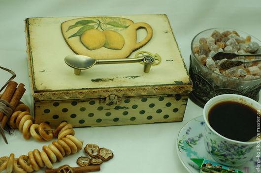 """Кухня ручной работы. Ярмарка Мастеров - ручная работа. Купить Шкатулка чайная """"Лимонный ноктюрн"""". Handmade. Лимонный, лимончики"""