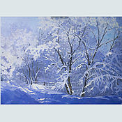 Pictures handmade. Livemaster - original item Oil painting landscape Winter fairy Tale. Handmade.