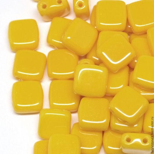 Для украшений ручной работы. Ярмарка Мастеров - ручная работа. Купить Чешская тила 6мм Желтый подсолнух CzechMates Tile 30шт. Handmade.