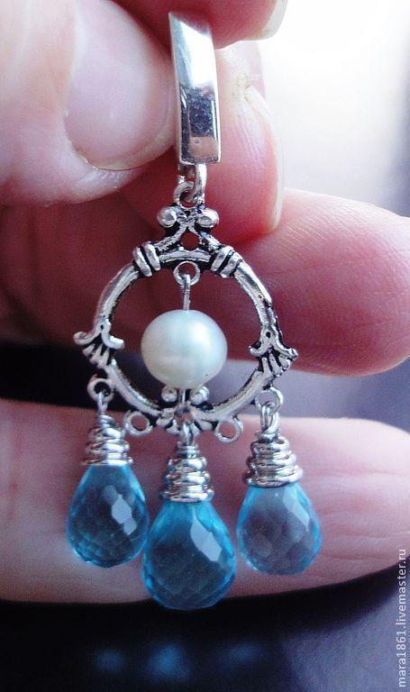 Серьги ручной работы. Ярмарка Мастеров - ручная работа. Купить Серьги серебряные с голубыми кварцами. Handmade. Голубой, подарок женщине