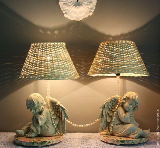 """Освещение ручной работы. Ярмарка Мастеров - ручная работа. Купить Пара прикроватных ламп """"Ангелы"""". Handmade. Ангел, крылья ангела"""