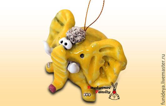 Колокольчики ручной работы. Ярмарка Мастеров - ручная работа. Купить Слон, керамический колокольчик. Желтый слон. Слон колокольчик.. Handmade.