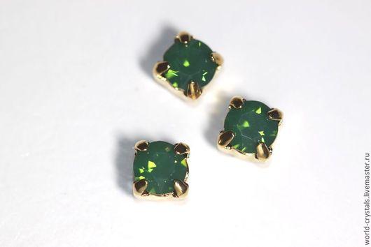 Кристаллы № 393 P. GREEN OPAL.  Ювелирные касты под золото.