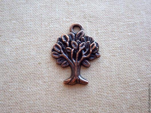 Подвеска дерево - фурнитура для украшений. подвеска для серег, кулона, браслета. Цвет подвески - античная медь. Размер подвески дерева 2,2х1,8 см