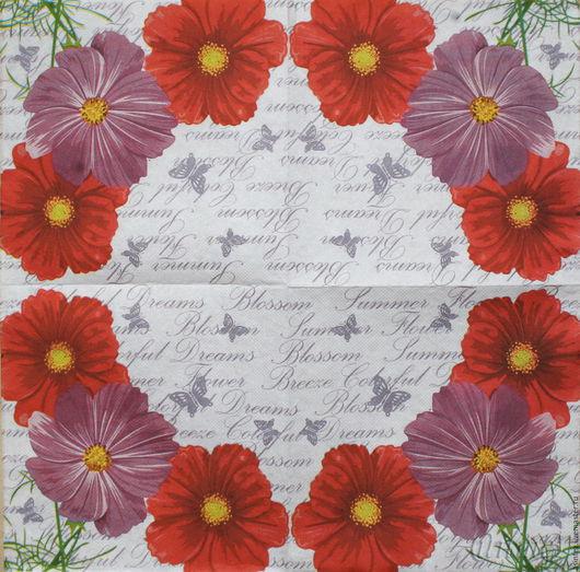 салфетка для декупажа садовые ромашки бабочки шрифт