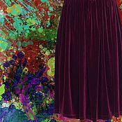 """Одежда ручной работы. Ярмарка Мастеров - ручная работа Бархатная бордовая юбка """"Рубин"""". Handmade."""