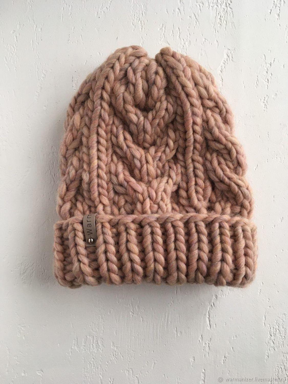 Hat with braids made of merino wool (Peru), beige, Caps, St. Petersburg,  Фото №1