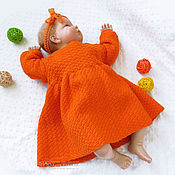 Работы для детей, handmade. Livemaster - original item Knitted baby dress for girl orange. Handmade.