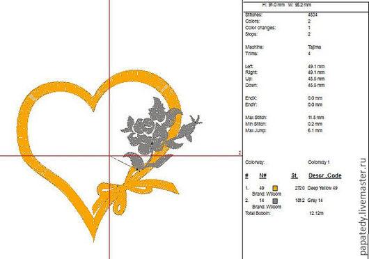 Иллюстрации ручной работы. Ярмарка Мастеров - ручная работа. Купить сердце и розы дизайн машинной вышивки - 60 летний юбилей. Handmade.