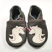 Одежда детская handmade. Livemaster - original item Unicorn Baby Shoes, Gray Girl Shoes, Leather Baby Booties,Ebooba. Handmade.