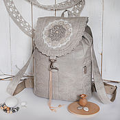 Сумки и аксессуары handmade. Livemaster - original item Linen backpack