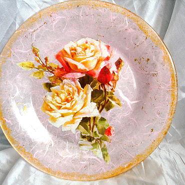 Посуда ручной работы. Ярмарка Мастеров - ручная работа Тарелка декоративная «Розы». Handmade.