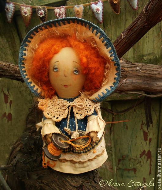 Коллекционные куклы ручной работы. Ярмарка Мастеров - ручная работа. Купить Тянутся ниточки.... Handmade. Тёмно-синий, благословение, синтепух