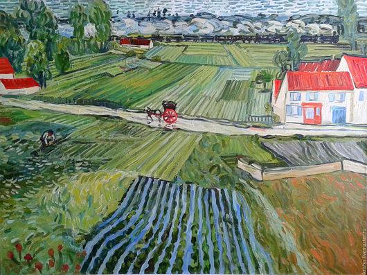 """Пейзаж ручной работы. Ярмарка Мастеров - ручная работа. Купить картина маслом. копия. Ван Гог  """"дорога в овере после дождя"""". Handmade."""