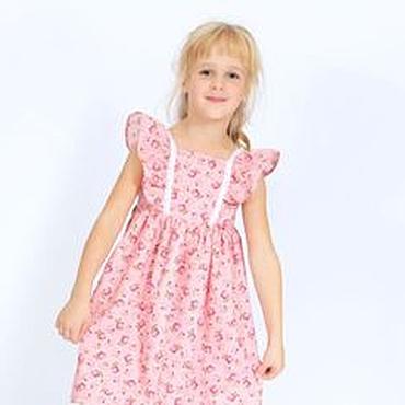 Работы для детей, ручной работы. Ярмарка Мастеров - ручная работа Розовое летнее платье для девочки в стиле шебби шик  на рост 110-116. Handmade.