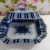 Винтаж handmade. Livemaster - original item Antique porcelain dish with lid.England. Handmade.