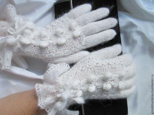 """Варежки, митенки, перчатки ручной работы. Ярмарка Мастеров - ручная работа. Купить Перчатки """" Неженка"""" белые. Handmade. Белый"""