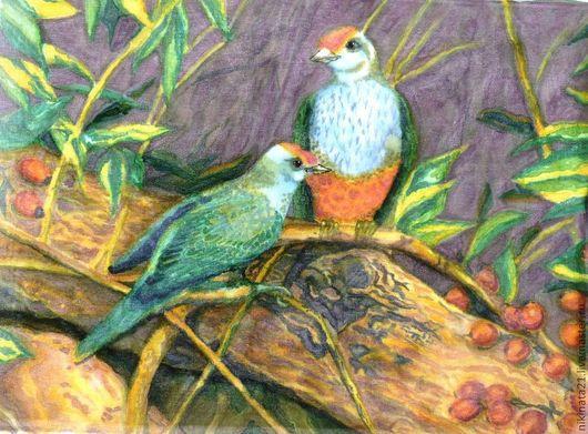 Животные ручной работы. Ярмарка Мастеров - ручная работа. Купить Верность. Handmade. Хаки, птицы, Картины и панно, Батик