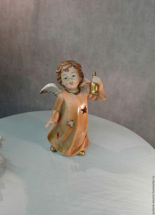 """Подсвечники ручной работы. Ярмарка Мастеров - ручная работа. Купить Подсвечник """"Ангел с колокольчиком"""", фарфор, роспись. Handmade. Бежевый, колокольчик"""