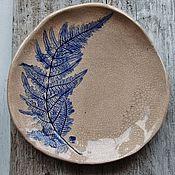 """Посуда ручной работы. Ярмарка Мастеров - ручная работа Тарелка """"Лист папоротника"""". Handmade."""