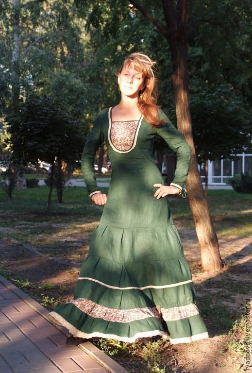 """Платья ручной работы. Ярмарка Мастеров - ручная работа. Купить Платье """"Весеннее настроение"""". Handmade. Льняное платье, бохо юбка"""