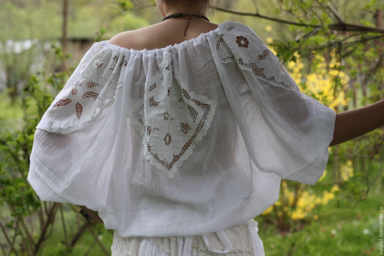 Купить белую блузку с кружевом