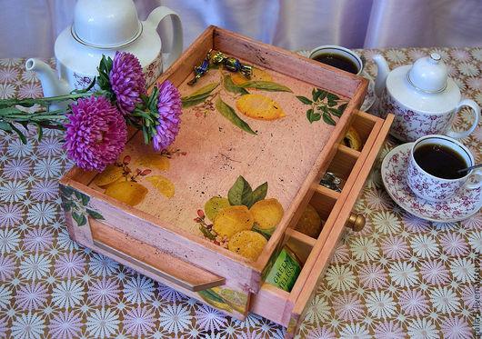 """Кухня ручной работы. Ярмарка Мастеров - ручная работа. Купить Сервировочный стол-поднос """" Лимонный """". Handmade."""