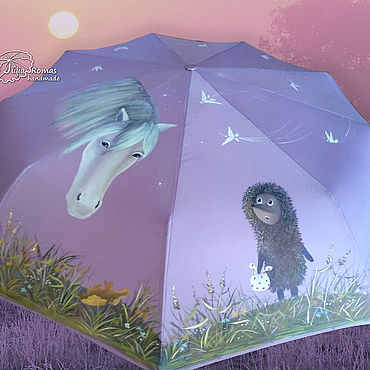 """Аксессуары ручной работы. Ярмарка Мастеров - ручная работа """"Ежик и лошадь"""" зонт с росписью по м/ф Ежик в тумане. Светло-сиреневый. Handmade."""