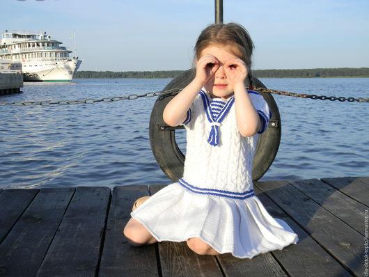 Одежда для девочек, ручной работы. Ярмарка Мастеров - ручная работа. Купить Вязаное платье для девочки Морское. Handmade. Белый, море