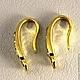 Швензы из латуни формы крючок без замка с родиевым покрытием под золото и цирконами