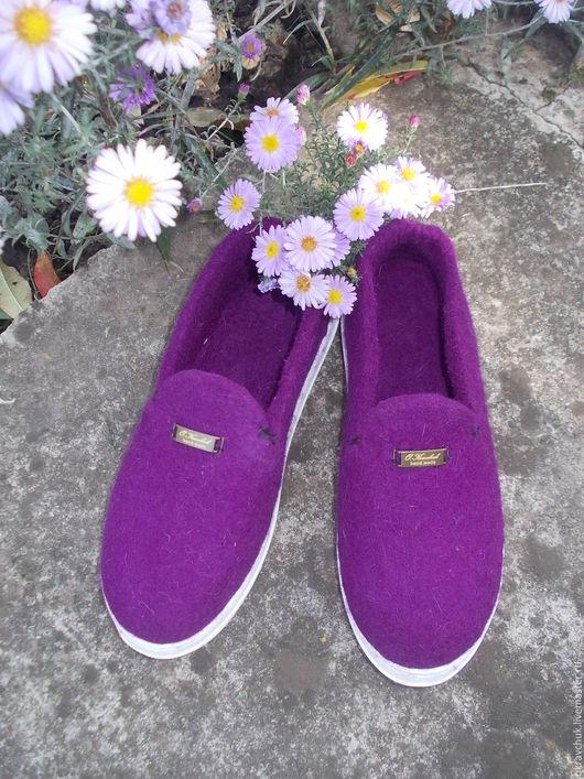 """Обувь ручной работы. Ярмарка Мастеров - ручная работа. Купить Слипоны женские """" Сирень"""". Handmade. Фиолетовый, слипоны валяные"""